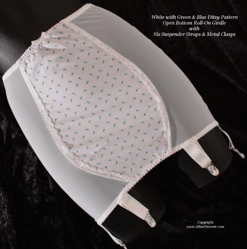 "White Girdle with Green & Blue Ditsy Pattern Front Panel & 6 Suspenders - Small 29/30"" Waist OBG"